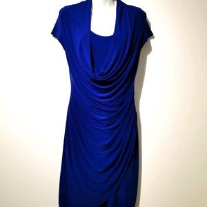 Joseph ribkoff s8 blue faux wrap dress